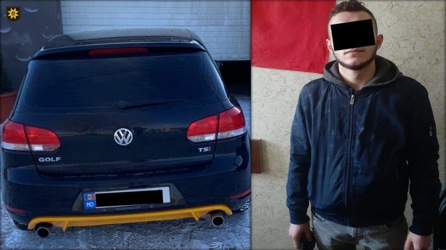 Automobil răpit, găsit accidentat la parcarea specială. Făptașul a fost identificat și reținut de polițiști