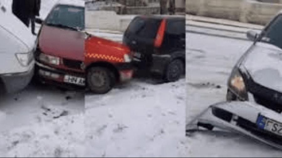 """(VIDEO) Aproximativ 10 automobile s-au """"pupat"""" la Hîncești din cauza lipsei de materiale antiderapant pe carosabil"""