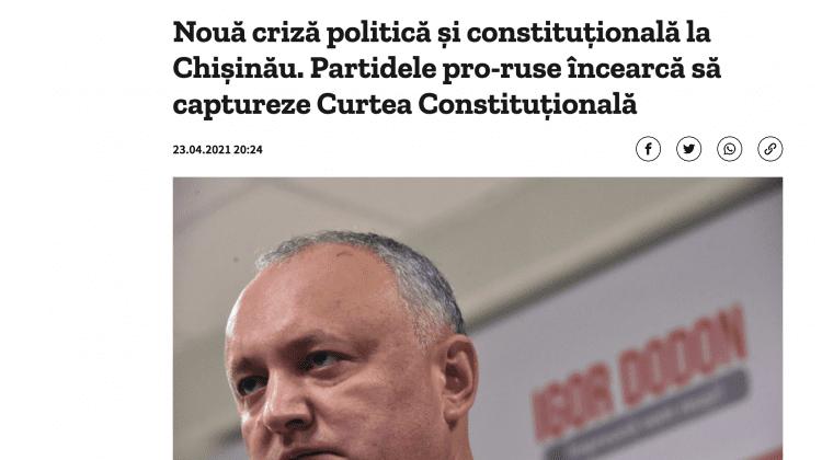 Presa de peste Prut: Partidele pro-ruse încearcă să captureze Curtea Constituțională