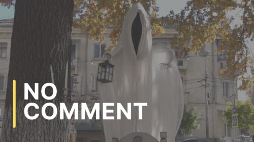 """Scuarul teatrului dramatic rus de stat """"A. P. Cehov"""", amenajat de Halloween"""