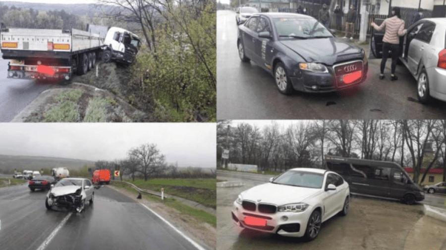 Patru accidente rutiere la Hîncești, din cauza condițiilor meteorologice nefavorabile