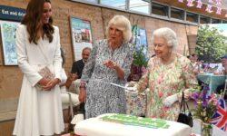 VIDEO Regina Elisabeta a II-a a insistat să taie un tort cu o sabie. Toți râd în hohote!