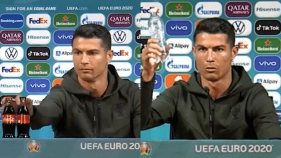 VIDEO Ronaldo, la o conferință pre-meci, a fost enervat la culme de două sticle cu Coca Cola!