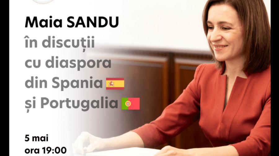 Maia Sandu, din nou în discuții cu diaspora. Moldovenii din Spania și Portugalia pot adresa întrebări președintei