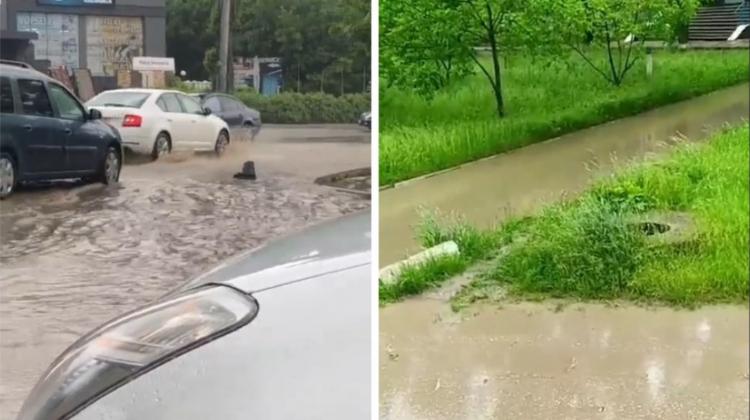 """(VIDEO) Mașinile """"înoată"""" pe străzile din Bălți, după ploaie"""