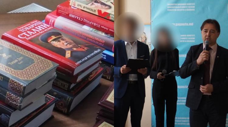 """NO COMMENT: Elevii din Găgăuzia au primit în dar de la Direcție cărți despre latura """"frumoasă"""" a lui Stalin (FOTO)"""