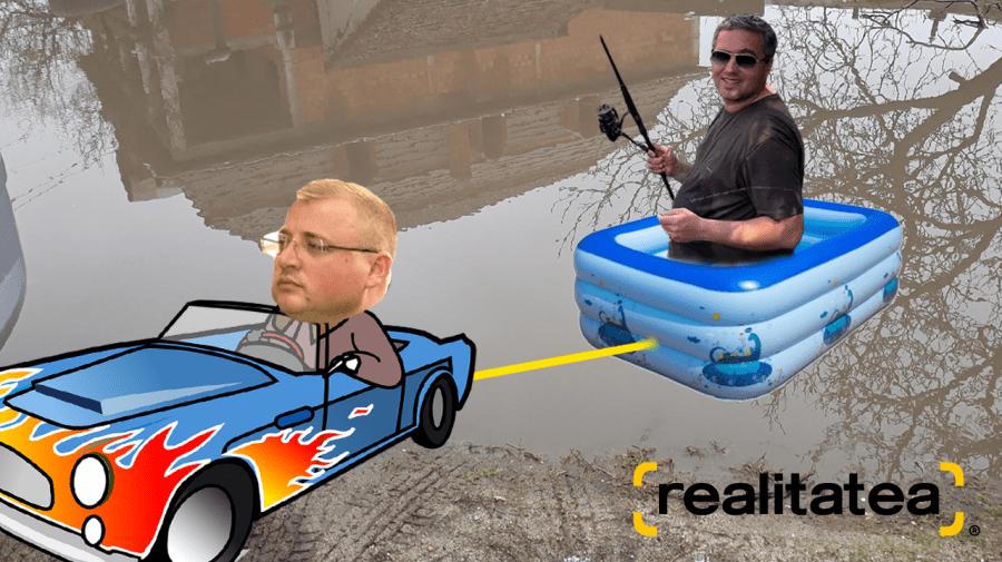 """(STOP CADRU) Haz de necaz! Renato Usatîi """"plimbat într-o veselie"""" cu barca pe străzile din Bălți"""