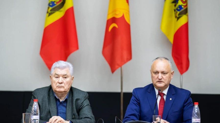 """""""Mai uniți ca niciodată"""". Voronin și Dodon au apărut împreună în fața candidaților din blocul creat de PCRM-PSRM"""