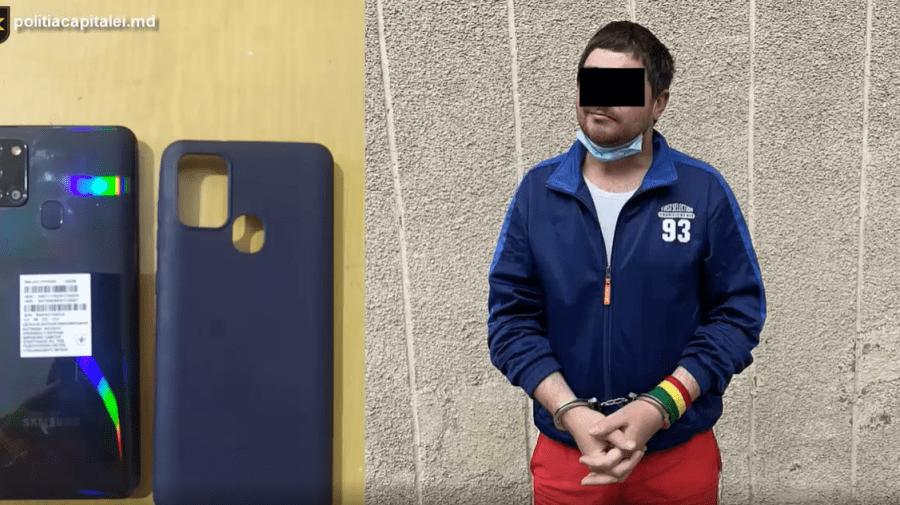 (VIDEO) N-a fost cuminte. A furat un telefon în mod deschis, iar acum este cercetat penal