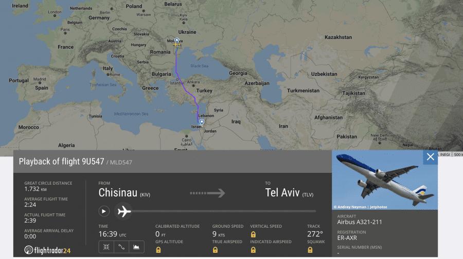 O cursă Air Moldova blocată în zbor în urma ploii de rachete trase asupra Tel Avivului