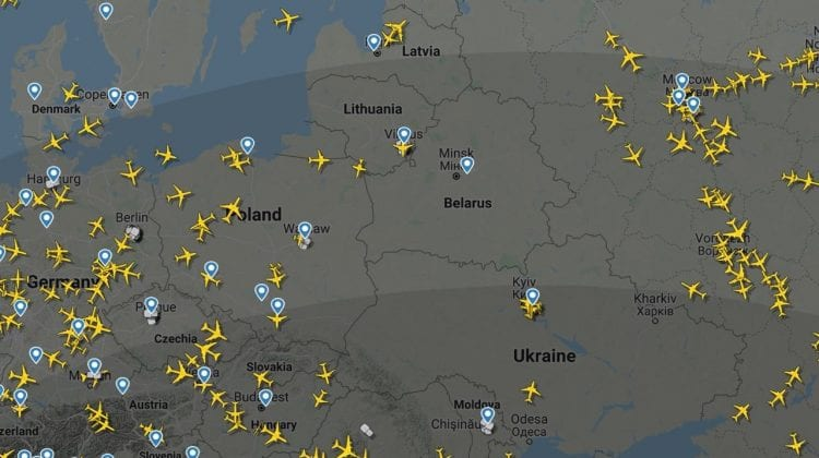 (FOTO) Așa arată spațiul aerian Belarus după ce mai multe țări au declarat că vor evita survolarea asupra țării