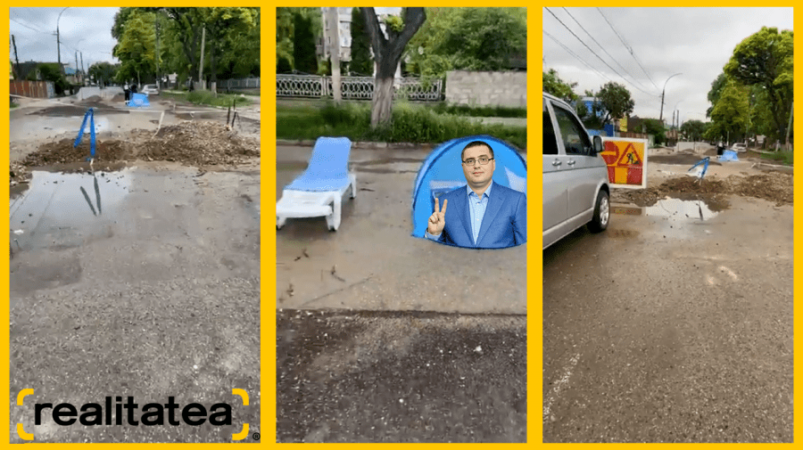 (STOP CADRU) PACE continuă circul de la Bălți – Șezlong și cort cu poza lui Usatîi pe o stradă cu apă
