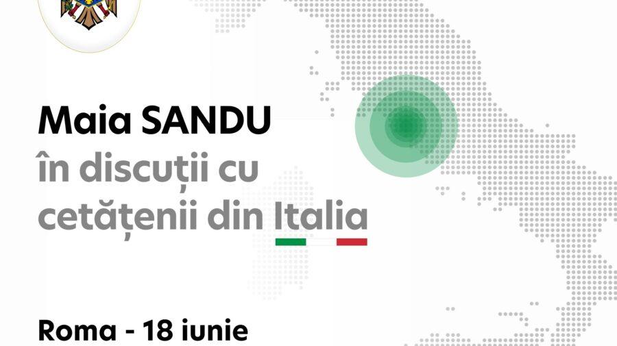 Detalii cum pot moldovenii din Roma și Milano să participe la întâlnirea cu Maia Sandu