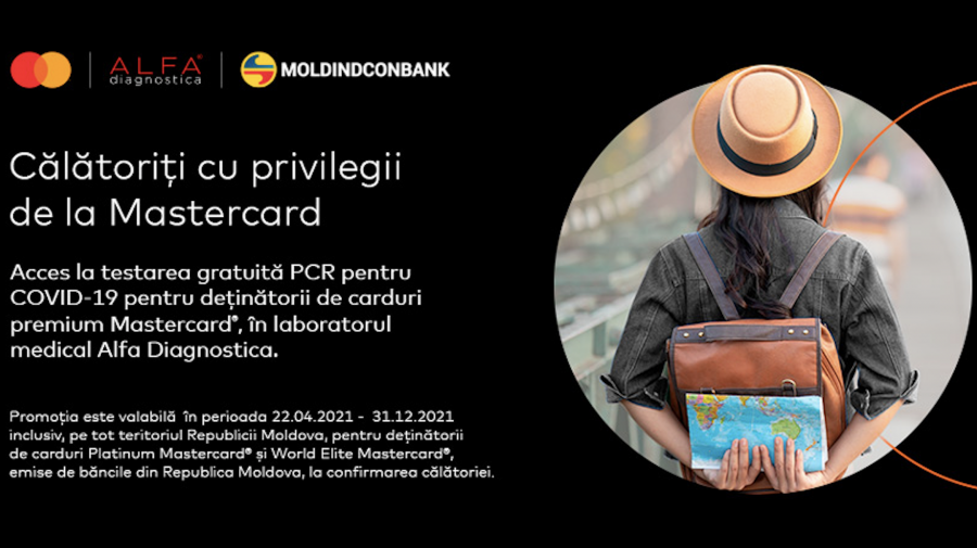 Moldindconbank: Testare gratuită pentru COVID-19 cu cardurile Mastercard Platinum și World Elite
