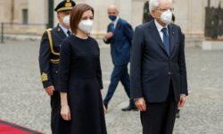 Video Imnul Moldovei – intonat la Roma. Maia Sandu a fost întâmpinată cu onoruri militare