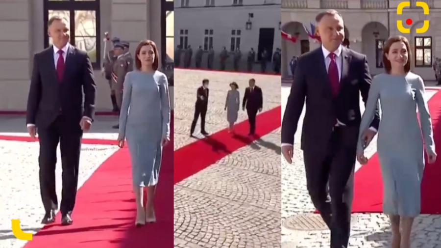FOTO, VIDEO Maia Sandu în Polonia! Primele imagini de la ceremonia care a avut loc la Palatul Prezidențial din Varșovia