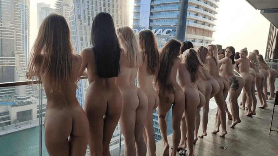 (VIDEO) Imaginile ședinței foto cu fetele goale la un balcon din Dubai, scoase la licitație