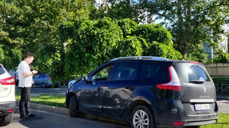 (FOTO) De pe carosabil pe verdeață! Un șofer a plonjat cu automobilul pe gazonul de pe bd. Dacia