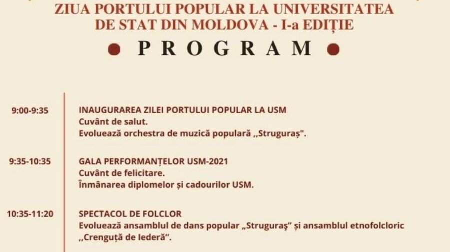 Ziua Portului Popular la Universitatea de Stat din Moldova! Ce evenimente a pregătit echipa USM pentru această duminică