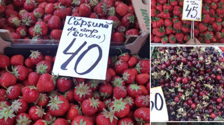 (FOTO) Prețurile cireșelor de la Piața Centrală a scăzut considerabil. Vezi cât costă legumele și carnea