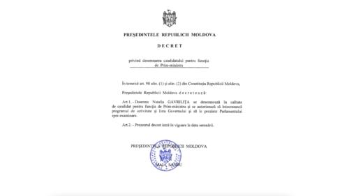 DECRET SEMNAT! Natalia Gavrilița, candidat oficial la funcția de Prim-ministru al Republicii Moldova