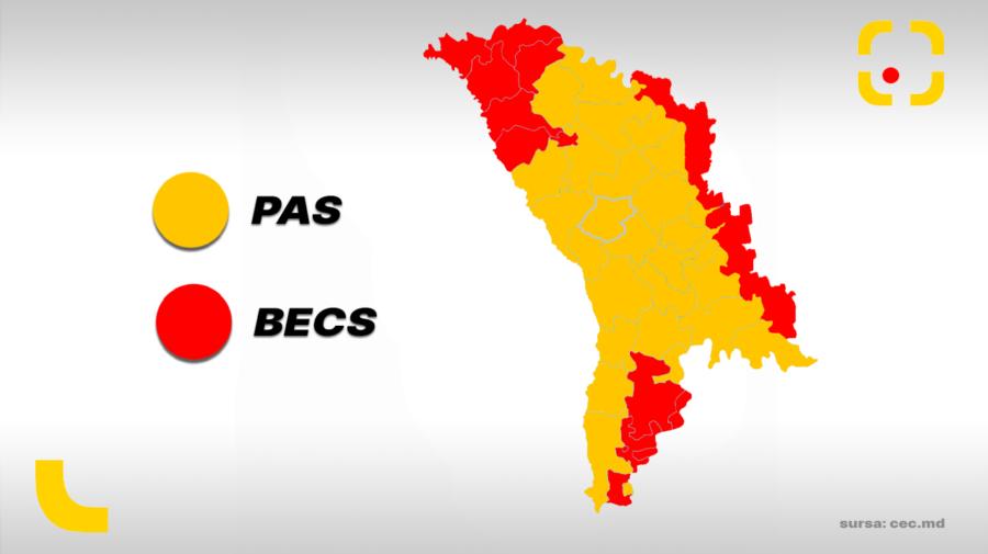 """""""Moldova-i galbenă"""". Harta raioanelor în care PAS și BECS au obținut cele mai multe voturi"""