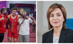 Maia Sandu îl felicită pe luptătorul Alexandru Solovei. A adus Moldovei o victorie importantă