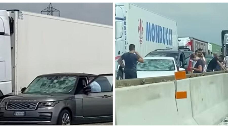 VIDEO Sute de mașini distruse din cauza grindinei într-un oraș din Italia, direct pe o autostradă