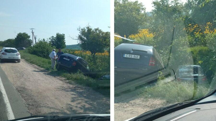 """FOTO A """"zburat"""" de pe șosea, într-un câmp. Un accident matinal s-a produs pe șoseaua Balcani"""