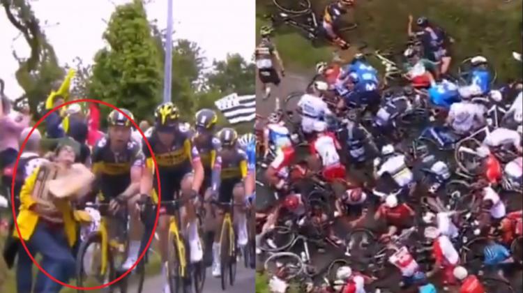 FOTO Spectatoarea care a provocat un accident în lanț la Turul ciclist al Franței a fost arestată! Riscă închisoare