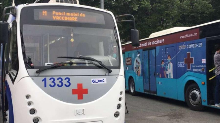 Staționarea punctelor mobile de vaccinare anti-COVID-19: Un troleibuz la Ciocana și un autobuz la Vatra