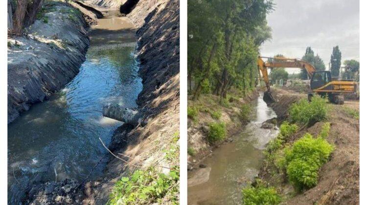 Au început lucrările de curățare a unei porțiuni din albia râului Durlești! Se vrea prevenirea inundațiilor la Buiucani