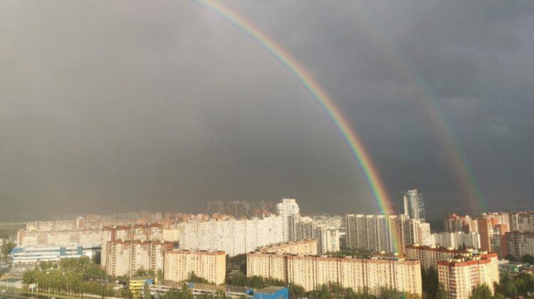 FOTO Ai văzut așa ceva? Un curcubeu dublu fascinant s-a întins peste Sankt Petersburg