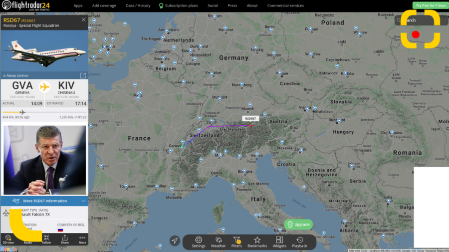 FOTO Kozak este în zbor spre Chișinău. Oficialul rus ar urma să aterizeze în Moldova, estimativ, la ora 17:15 minute