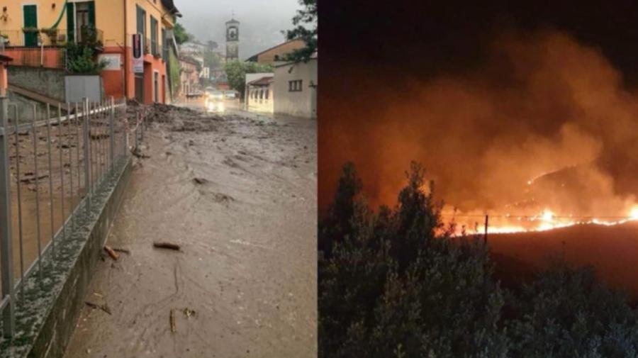 FOTO Vreme EXTREMĂ în Italia: Este lovită de inundații în nord și de incendii în sud