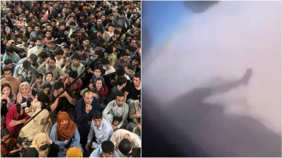 18+ Un om agățat în zbor! Autorul acestui VIDEO terifiant susține că a fost făcut din avionul decolat din Kabul