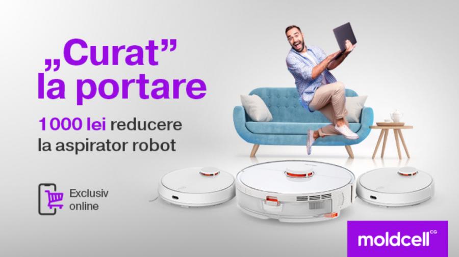 """""""Curat"""" la portare: Treci la Moldcell și ai 1000 lei reducere la aspirator robot"""