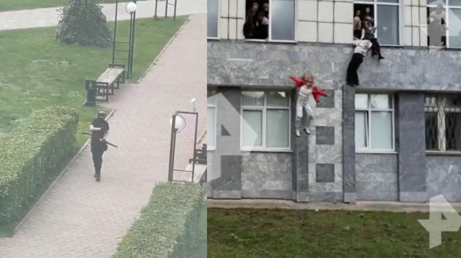 UPDATE VIDEO 18+ Focuri de armă într-o universitate din Rusia! Imagini cu studenți care sar peste geamuri