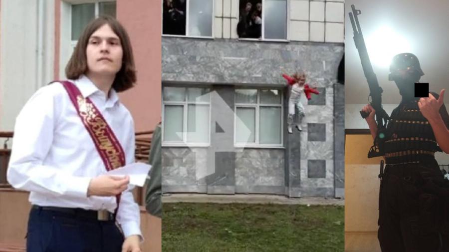 VIDEO +18 Momentul în care tânărul care a ucis 8 oameni într-o universitate din Perm este împușcat. A rămas în viață