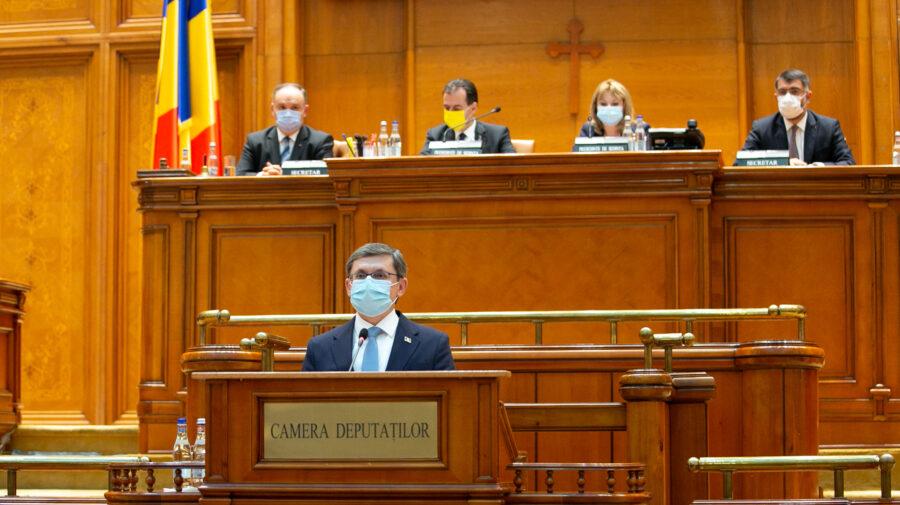 Grosu, de la tribuna Parlamentului din România: Putem face din relația noastră un punct cheie de parteneriat frăţesc