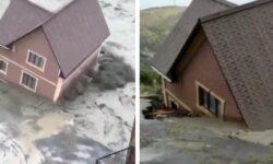 """VIDEO Ploile torențiale din Daghestan mișcă locuințele din loc! Apele """"înghit"""" casele oamenilor, distrugând drumuri"""