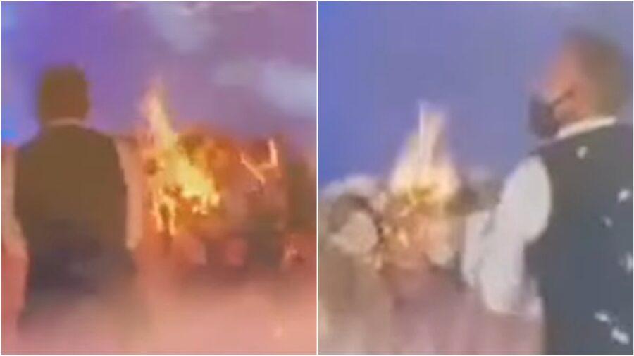 VIDEO Dans, artificii și… arde! O masă a luat foc la o nuntă care ar fi avut loc la un local din suburbia capitalei