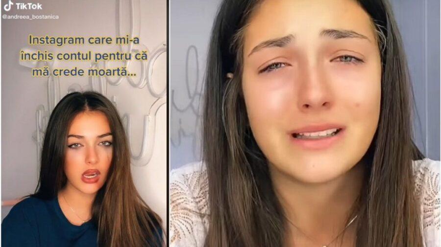 """VIDEO Regina TikTok-ului de la noi, în lacrimi. Și-a pierdut contul de Instagram: """"Mi-au dorit o înmormântare ușoară"""""""