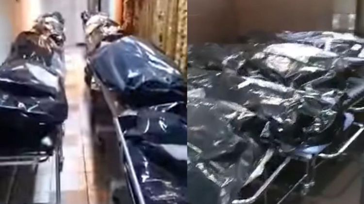 VIDEO La morga unui spital, morții de COVID nu mai au loc în frigidere! Zona este plină de cadavre puse în saci