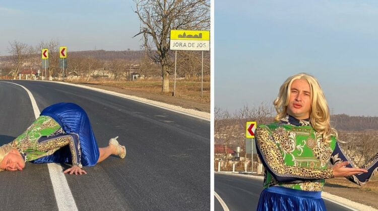 """VIDEO Crețu, calcă la propriu pe urmele lui Tauber! A """"gustat"""" drumul din localitatea Jora de Jos. """"E foarte bun"""""""