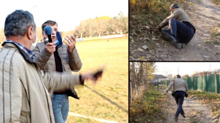 VIDEO Te ții de burtă de râs! Un primar din Drochia ar fi băut alcool la serviciu. Încercând să fugă de presă, a căzut!