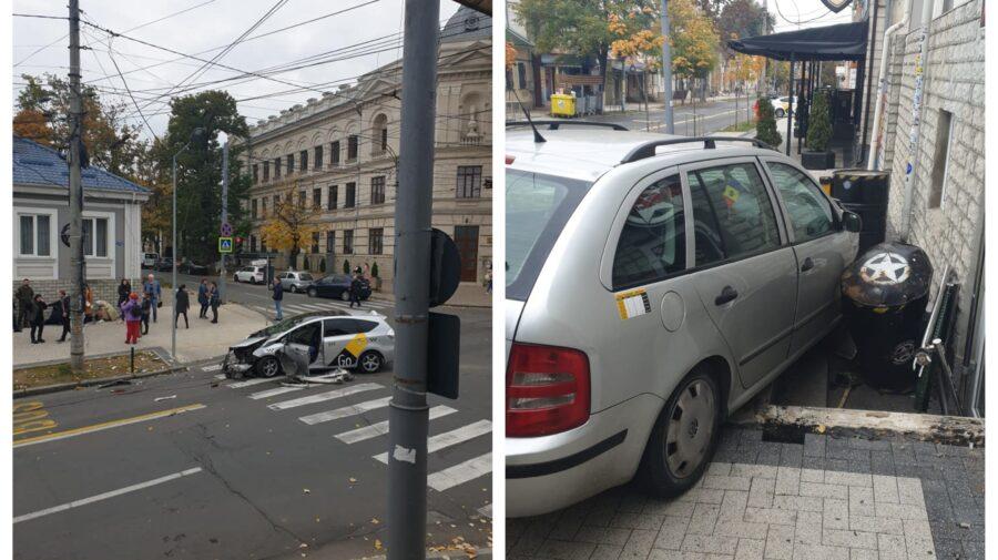 FOTO Dimineață cu ghinion. Două automobile s-au tamponat, iar una a fost proiectată pe trotuar. Sunt victime