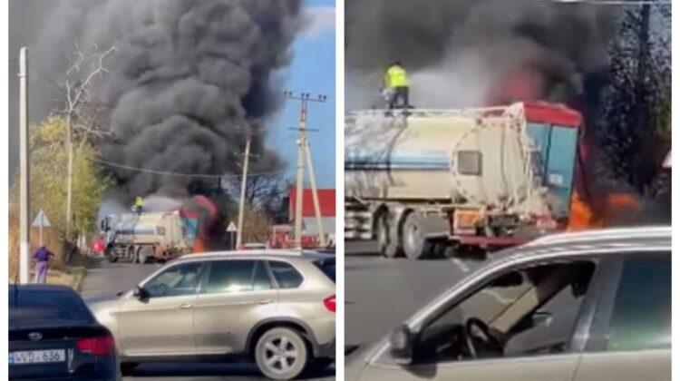 VIDEO Fum negru și flăcări violente pe un traseu din țară. Ce s-a întâmplat