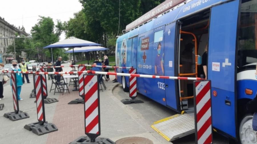 Te poți imuniza împotriva COVID-19 și astăzi! Troleibuzul staționează în centrul Capitalei, iar autobuzul la Botanica
